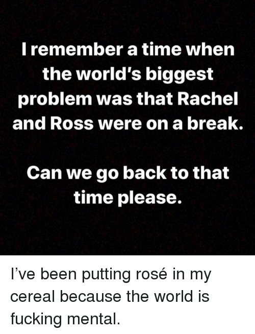 Fucking, Memes, and Break: l remember a time when  the world's biggest  problem was that Rachel  and Ross were on a break.  Can we go back to that  time please. I've been putting rosé in my cereal because the world is fucking mental.