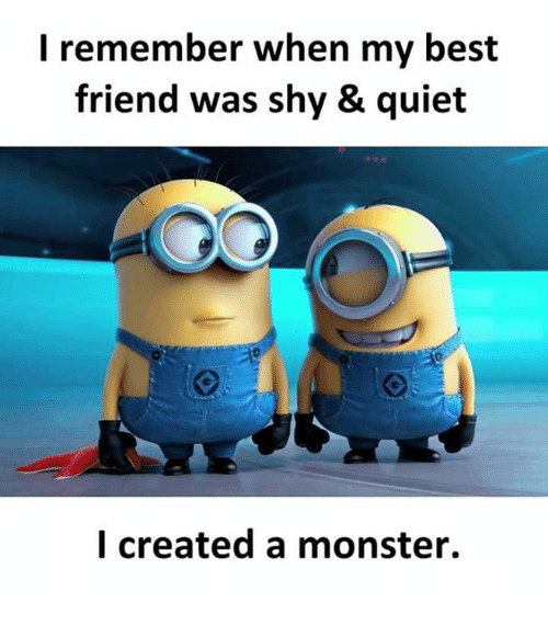 Best Friend, Memes, and Monster: l remember when my best  friend was shy & quiet  l created a monster.