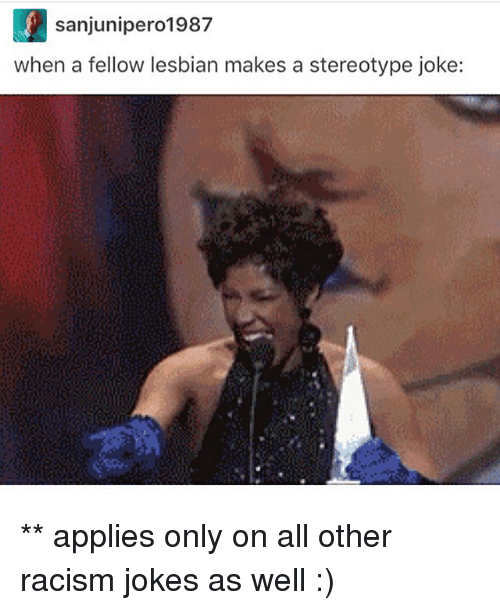 Memes, 🤖, and Joke: L sanjunipero1987  when a fellow lesbian makes a stereotype joke: ** applies only on all other racism jokes as well :)