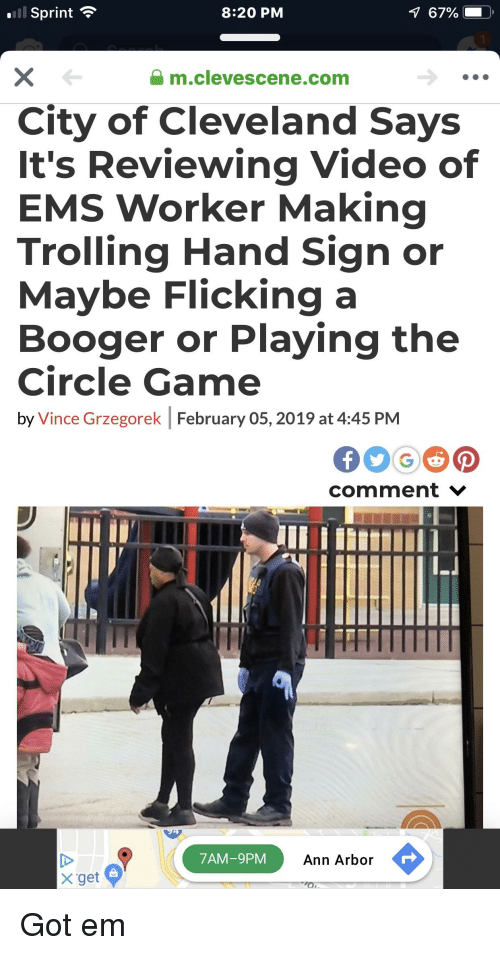 The Circle Game: l Sprint  8:20 PM  1  m.clevescene.com  City of Cleveland Says  It's Reviewing Video of  EMS Worker Making  Trolling Hand Sign or  Maybe Flicking a  Booger or Playing the  Circle Game  by Vince Grzegorek February 05, 2019 at 4:45 PM  comment V  7AM-9PM  Ann Arbor  X get