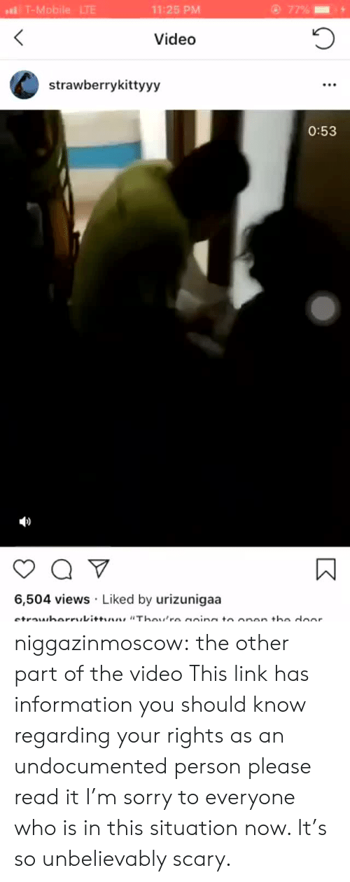 unbelievably: l T-Mobile LTE  11:25 PM  Video  strawberrykittyyy  0:53  6,504 views Liked by urizunigaa niggazinmoscow:  the other part of the video   This link has information you should know regarding your rights as an undocumented person please read it    I'm sorry to everyone who is in this situation now. It's so unbelievably scary.