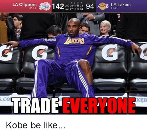 La Clippers: LA Clippers  IIPPERS  LAC 27 44 36 33  94 LA Lakers  43-20  LAL 29 13 20 34  EMES  TRADE  S.CO  EVERYONE Kobe be like...