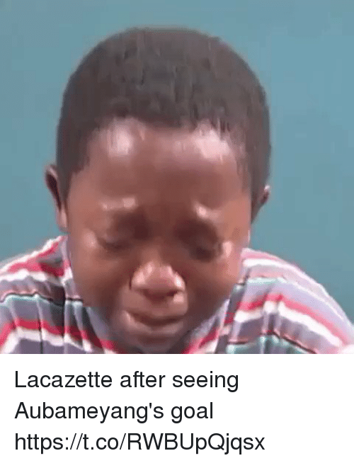 Soccer, Goal, and Seeing: Lacazette after seeing Aubameyang's goal https://t.co/RWBUpQjqsx