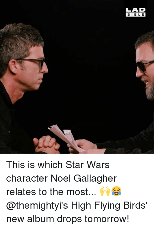Memes, Star Wars, and Birds: LAD  BIBL E This is which Star Wars character Noel Gallagher relates to the most... 🙌😂 @themightyi's High Flying Birds' new album drops tomorrow!