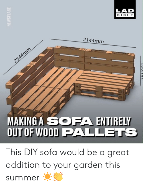 sofa: LAD  BIBLE  2144mm  MAKING A SOFA ENTIRELY  OUT OF WOOD PALLETS This DIY sofa would be a great addition to your garden this summer ☀️👏