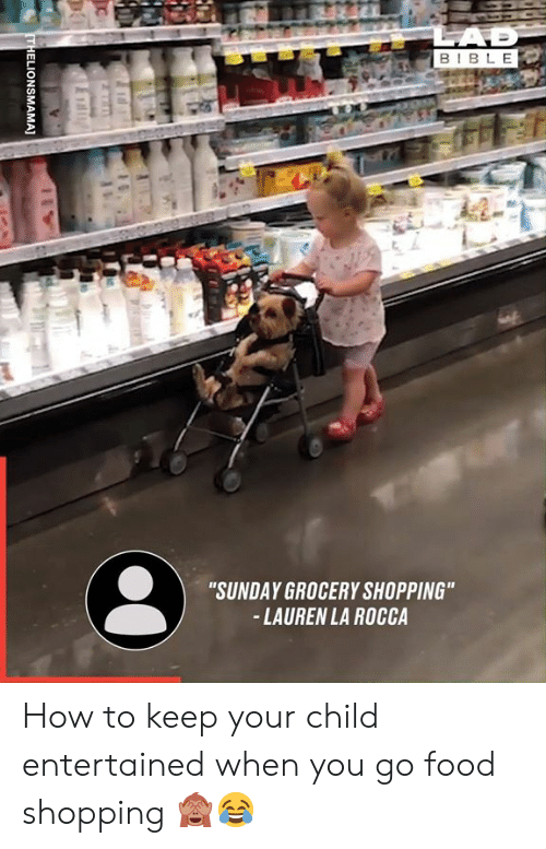 "Entertained: LAD  BIBLE  ""SUNDAY GROCERY SHOPPING""  -LAUREN LA ROCCA  THELIONSMAMA] How to keep your child entertained when you go food shopping 🙈😂"