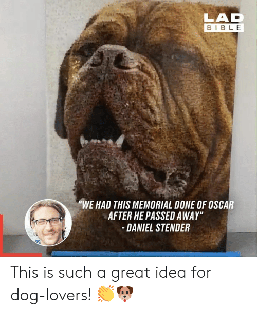 "dog lovers: LAD  BIBLE  ""WE HAD THIS MEMORIAL DONE OF OSCAR  AFTER HE PASSED AWAY""  DANIEL STENDER This is such a great idea for dog-lovers! 👏🐶"