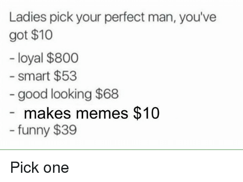Making Meme: Ladies pick your perfect man, you've  got $10  loyal $800  Smart $53  good looking $68  makes memes $10  funny $39 Pick one