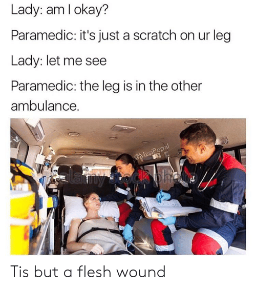 Paramedic: Lady: am lokay?  Paramedic: it's just a scratch on ur leg  Lady: let me see  Paramedic: the leg is in the other  ambulance.  asiPopa  to Tis but a flesh wound