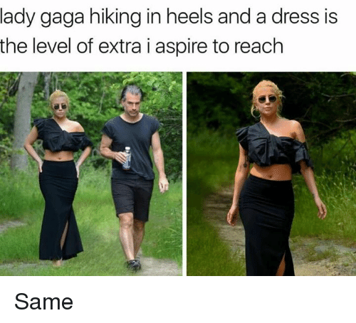Lady Gaga, Memes, and Dress: lady gaga hiking in heels and a dress is  the level of extra i aspire to reach Same