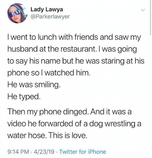 Typed: Lady Lawya  @Parkerlawyer  I went to lunch with friends and saw my  husband at the restaurant. I was going  to say his name but he was staring at his  phone sol watched him  He was smiling  He typed.  Then my phone dinged. And it was a  video he forwarded of a dog wrestling a  water hose. This is love.  9:14 PM 4/23/19 Twitter for iPhone