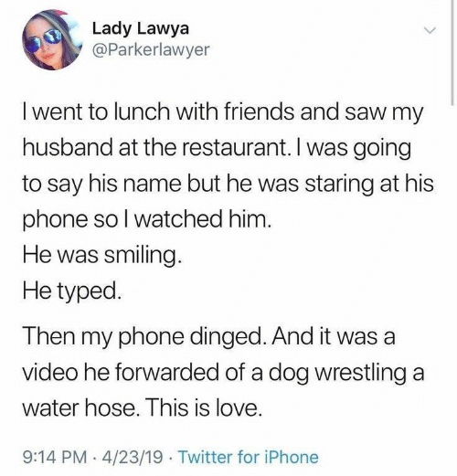 Wrestling: Lady Lawya  @Parkerlawyer  Iwent to lunch with friends and saw my  husband at the restaurant. I was going  to say his name but he was staring at his  phone so I watched him.  He was smiling.  He typed  Then my phone dinged. And it was a  video he forwarded of a dog wrestling a  water hose. This is love.  9:14 PM 4/23/19 Twitter for iPhone