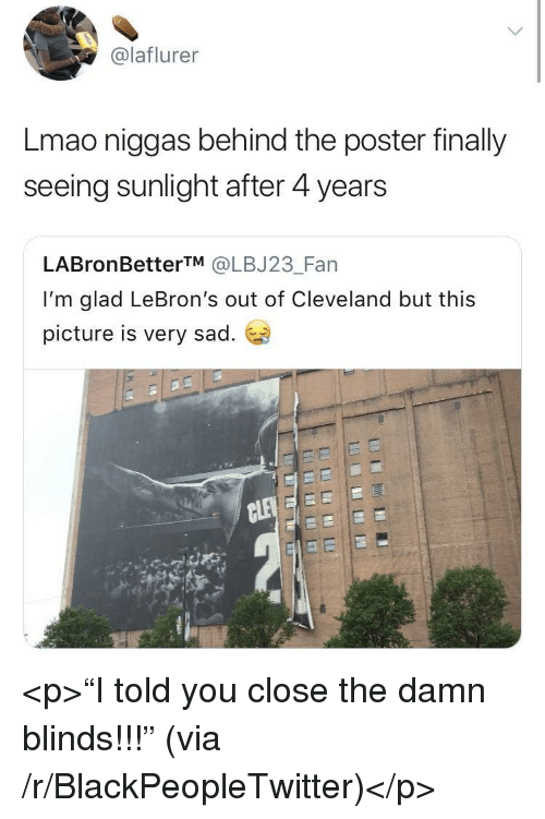 "Blackpeopletwitter, Lmao, and Cleveland: @laflurer  Lmao niggas behind the poster finally  seeing sunlight after 4 years  LABronBetterTM @LBJ23_Fan  I'm glad LeBron's out of Cleveland but this  picture is very sad. <p>""I told you close the damn blinds!!!"" (via /r/BlackPeopleTwitter)</p>"