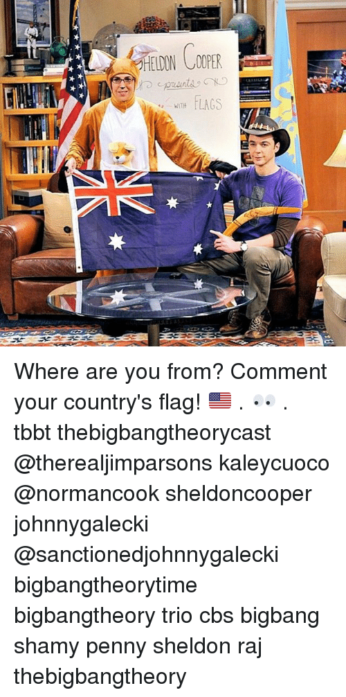 bigbangtheory: LAGS  WITH Where are you from? Comment your country's flag! 🇺🇸 . 👀 . tbbt thebigbangtheorycast @therealjimparsons kaleycuoco @normancook sheldoncooper johnnygalecki @sanctionedjohnnygalecki bigbangtheorytime bigbangtheory trio cbs bigbang shamy penny sheldon raj thebigbangtheory