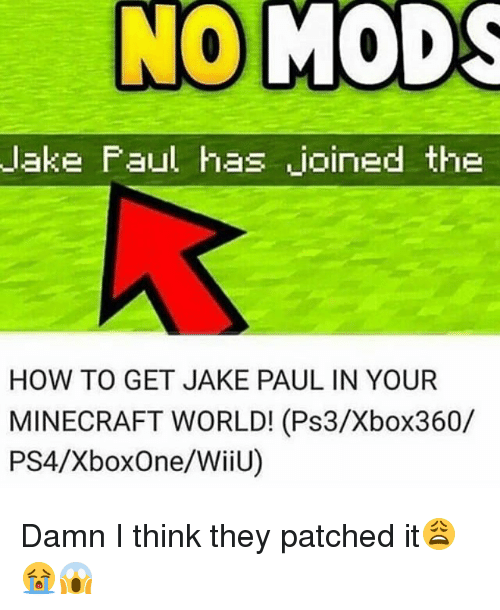 Memes, Minecraft, and Ps4: lake Faul has joined the  HOW TO GET JAKE PAUL IN YOUR  MINECRAFT WORLD! (Ps3/Xbox360/  PS4/XboxOne/WiiU) Damn I think they patched it😩😭😱