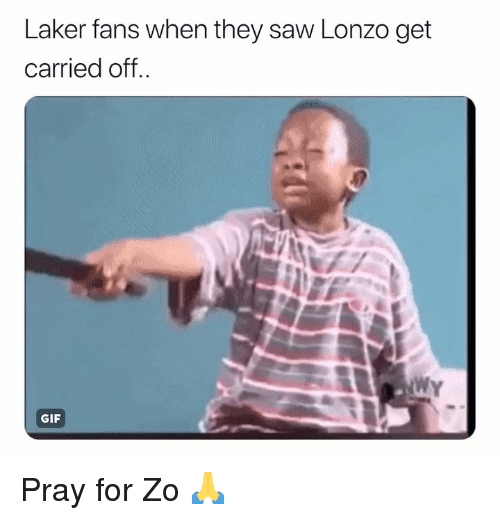 laker: Laker fans when they saw Lonzo get  carried off  WY  GIF Pray for Zo 🙏
