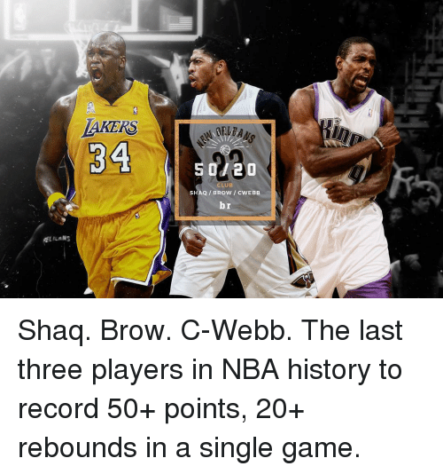Club, Nba, and Shaq: LAKERS  34  ALILAN  2 O  CLUB  SHAQ BROW c  br Shaq. Brow. C-Webb. The last three players in NBA history to record 50+ points, 20+ rebounds in a single game.