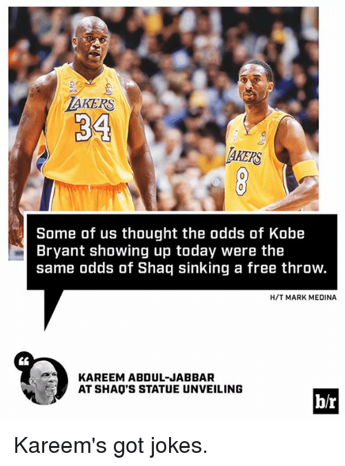 unveiling: LAKERS  34  Some of us thought the odds of Kobe  Bryant showing up today were the  same odds of Shaq sinking a free throw.  H/T MARK MEDINA  KAREEM ABDUL-JABBAR  AT SHAO'S STATUE UNVEILING  br Kareem's got jokes.