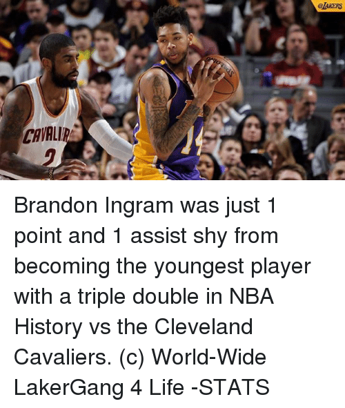 Cleveland Cavaliers, Memes, and Cavaliers: @LAKERS  CAVALI Brandon Ingram was just 1 point and 1 assist shy from becoming the youngest player with a triple double in NBA History vs the Cleveland Cavaliers.  (c) World-Wide LakerGang 4 Life  -STATS