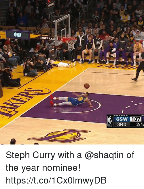 Steph Curry: LAKERS.CO  GSW 107 Steph Curry with a @shaqtin of the year nominee!  https://t.co/1Cx0lmwyDB