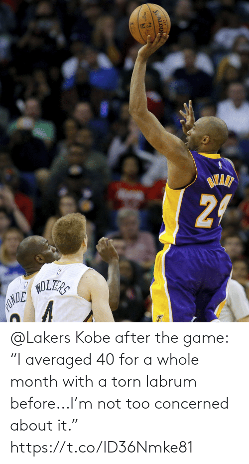 """After The: @Lakers Kobe after the game: """"I averaged 40 for a whole month with a torn labrum before...I'm not too concerned about it."""" https://t.co/ID36Nmke81"""