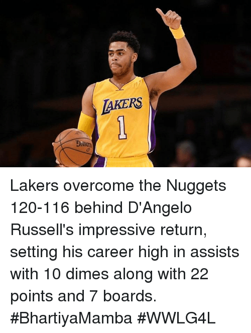 Memes, d'Angelo Russell, and 🤖: LAKERS Lakers overcome the Nuggets 120-116 behind D'Angelo Russell's impressive return, setting his career high in assists with 10 dimes along with 22 points and 7 boards.  #BhartiyaMamba #WWLG4L