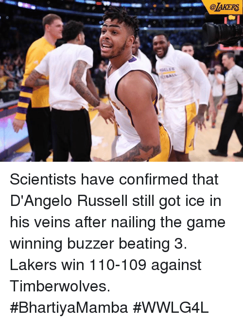 Andrew Bogut, Los Angeles Lakers, and Memes: @laKERS Scientists have confirmed that D'Angelo Russell still got ice in his veins after nailing the game winning buzzer beating 3.  Lakers win 110-109 against Timberwolves.  #BhartiyaMamba #WWLG4L