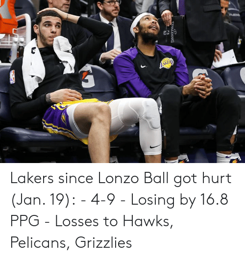 Lonzo Ball: Lakers since Lonzo Ball got hurt (Jan. 19):  - 4-9 - Losing by 16.8 PPG - Losses to Hawks, Pelicans, Grizzlies