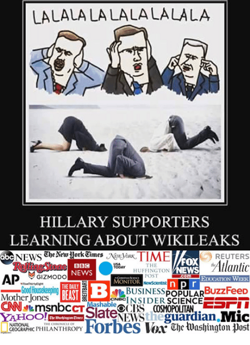 Housekeeping: LALALALALALALALALA  HILLARY SUPPORTERS  LEARNING ABOUT WIKILEAKS  The AewHork Times  TIME  REUTERS  abc  NEWS  FOX  Allanlic  THE  BBC  TODAY  WNEWS  HUFFINGTON  POST  NEWS  AP  GIZMODO  EDUCATION WEEK  MONITOR  THE DAILY  Good Housekeeping  BuzzFeeD  BUSINESS  BEAST  POPULAR  Mother ones  ENacINSIDER  SCIENCE  CNN  OCBS COSMO guardian  Mic  OO  Forbes Washington diost  NATIONAL  GEOGRAPHIC PHILANTHROPY