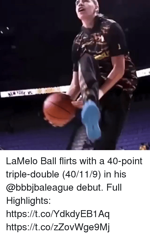 triple double: LaMelo Ball flirts with a 40-point triple-double (40/11/9) in his @bbbjbaleague debut.  Full Highlights: https://t.co/YdkdyEB1Aq https://t.co/zZovWge9Mj
