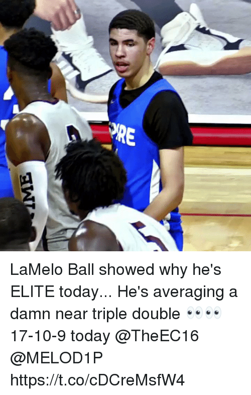 triple double: LaMelo Ball showed why he's ELITE today... He's averaging a damn near triple double 👀👀 17-10-9 today @TheEC16 @MELOD1P https://t.co/cDCreMsfW4
