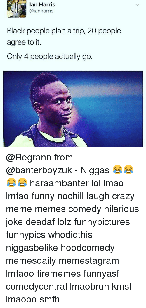 Crazy, Funny, and Lmao: lan Harris  @ianharris  Black people plan a trip, 20 people  agree to it.  Only 4 people actually go. @Regrann from @banterboyzuk - Niggas 😂😂😂😂 haraambanter lol lmao lmfao funny nochill laugh crazy meme memes comedy hilarious joke deadaf lolz funnypictures funnypics whodidthis niggasbelike hoodcomedy memesdaily memestagram lmfaoo firememes funnyasf comedycentral lmaobruh kmsl lmaooo smfh
