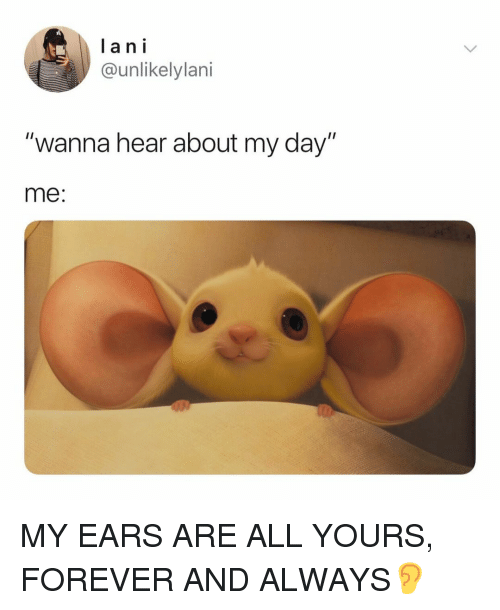 """Forever, Relatable, and Lan: lan i  @unlikelylani  """"wanna hear about my day""""  me: MY EARS ARE ALL YOURS, FOREVER AND ALWAYS👂"""