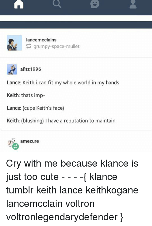 Cute, Memes, and Tumblr: lancemcclains  CAM grumpy-space-mullet  afitz1996.  Lance: Keith i can fit my whole world in my hands  Keith: thats imp-  Lance: (cups Keith's face)  Keith: (blushing) I have a reputation to maintain  ame Zure Cry with me because klance is just too cute - - - -{ klance tumblr keith lance keithkogane lancemcclain voltron voltronlegendarydefender }