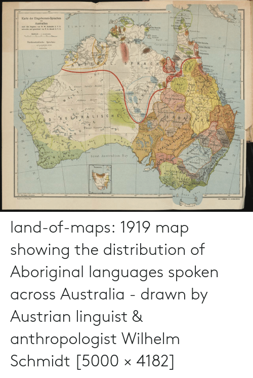 map: land-of-maps:  1919 map showing the distribution of Aboriginal languages spoken across Australia - drawn by Austrian linguist & anthropologist Wilhelm Schmidt [5000 × 4182]