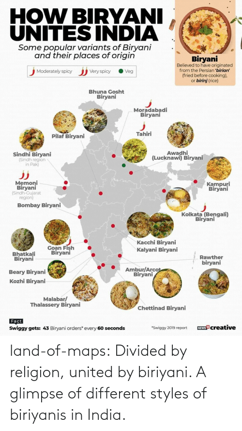 United: land-of-maps:  Divided by religion, united by biriyani. A glimpse of different styles of biriyanis in India.