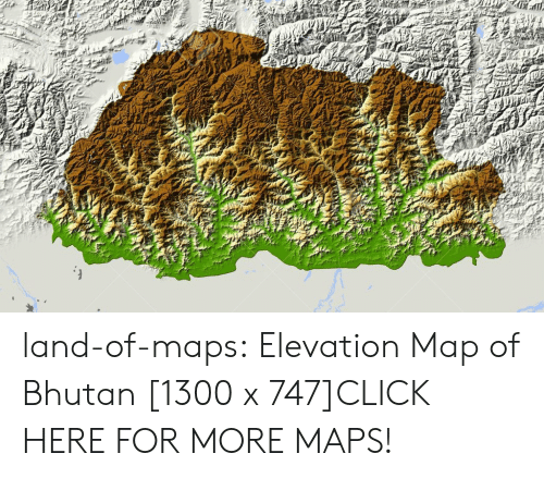 Bhutan: land-of-maps:  Elevation Map of Bhutan [1300 x 747]CLICK HERE FOR MORE MAPS!