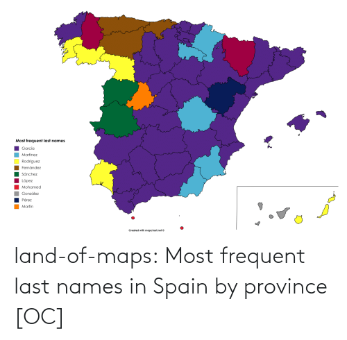 Maps: land-of-maps:  Most frequent last names in Spain by province [OC]