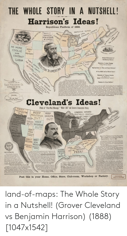 Harrison: land-of-maps:  The Whole Story in a Nutshell! (Grover Cleveland vs Benjamin Harrison) (1888) [1047x1542]