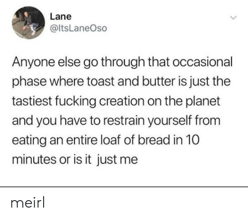 or is it just me: Lane  @ItsLaneOso  Anyone else go through that occasional  phase where toast and butter is just the  tastiest fucking creation on the planet  and you have to restrain yourself from  eating an entire loaf of bread in 10  minutes or is it just me meirl
