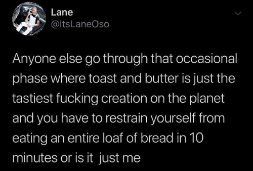 or is it just me: Lane  @ltsLaneOso  Anyone else go through that occasional  phase where toast and butter is just the  tastiest fucking creation on the planet  and you have to restrain yourself from  eating an entire loaf of bread in 10  minutes or is it just me