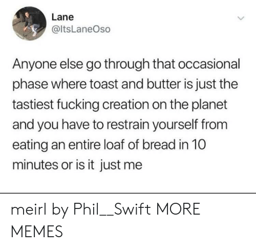 Phil Swift: Lane  @ltsLaneOso  Anyone else go through that occasional  phase where toast and butter is just the  tastiest fucking creation on the planet  and you have to restrain yourself from  eating an entire loaf of bread in 10  minutes or is it just me meirl by Phil__Swift MORE MEMES