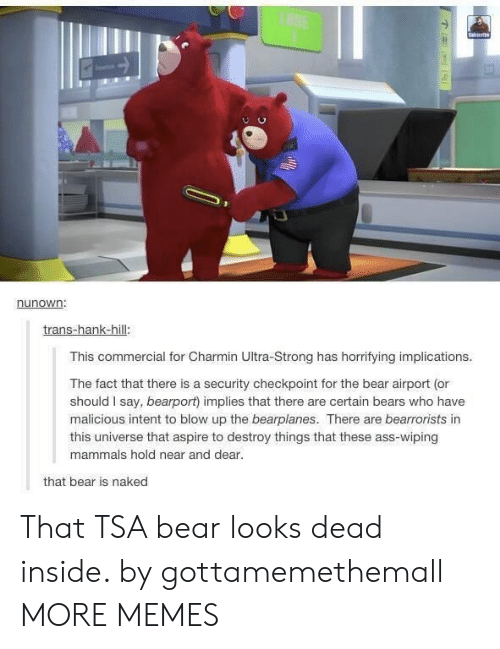 commercial: LANE  Saierb  nunown:  trans-hank-hill:  This commercial for Charmin Ultra-Strong has horrifying implications.  The fact that there is a security checkpoint for the bear airport (or  should I say, bearport) implies that there are certain bears who have  malicious intent to blow up the bearplanes. There are bearrorists in  this universe that aspire to destroy things that these ass-wiping  mammals hold near and dear.  that bear is naked That TSA bear looks dead inside. by gottamemethemall MORE MEMES