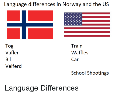 Funny, School, and Norway: langage diierences in Norway and the US  Tog  Vafler  Bil  Velferd  Train  Waffles  Car  School Shootings Language Differences