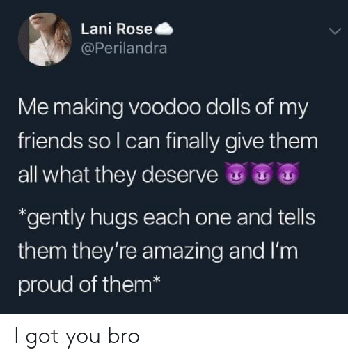 voodoo: Lani Rose  @Perilandra  Me making voodoo dolls of my  friends so I can finally give them  all what they deserve  *gently hugs each one and tells  them they're amazing and I'm  proud of them* I got you bro