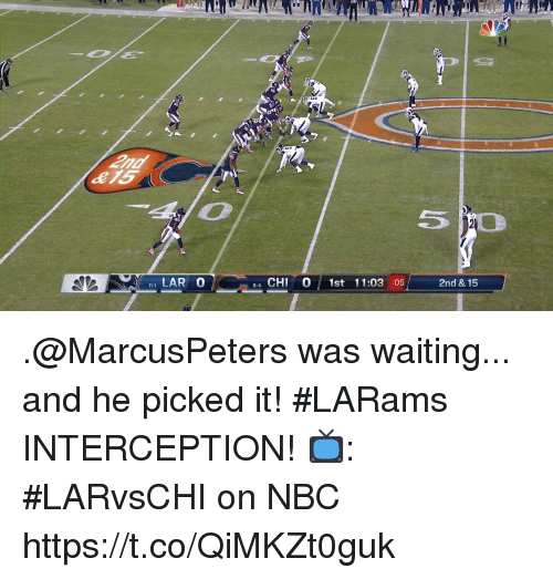 interception: LAR 0  4 CHI 0 1st 11:03 :05  8-4  2nd & 15 .@MarcusPeters was waiting... and he picked it!  #LARams INTERCEPTION!   📺: #LARvsCHI on NBC https://t.co/QiMKZt0guk