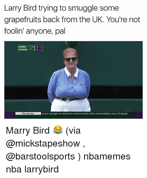 Larry Bird: Larry Bird trying to smuggle some  grapefruits back from the UK. You're not  foolin' anyone, pal  ZVEREVlo3  FEDERER  0  The Queuequeue overnight are allowed to construct tents which accommodate a max of 2 people Marry Bird 😂 (via @mickstapeshow , @barstoolsports ) nbamemes nba larrybird