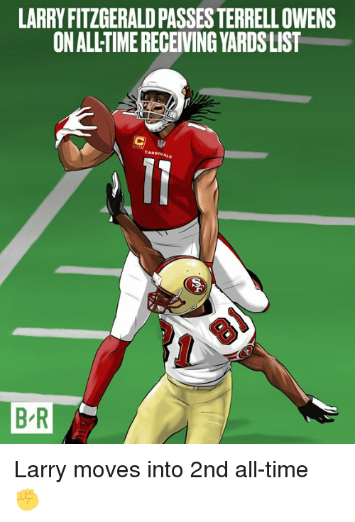 terrell owens: LARRY FITZGERALD PASSES TERRELL OWENS  ON ALLTIME RECEIVING YARDSLIST  B R Larry moves into 2nd all-time ✊
