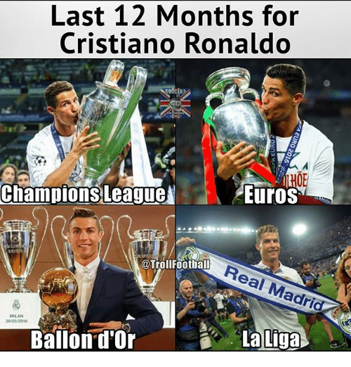 Cristiano Ronaldo, Football, and Memes: Last 12 Months for  Cristiano Ronaldo  EuroS  Champions League  @Troll Football  adrid  La Liga  Ballon d'Or