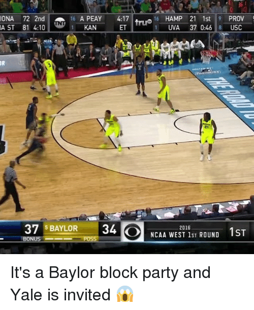 USC: LAST 81 4:10  1 A PEAY 4:17  KAN  72 2nd 16 16 HAMP 21 1st 9 PROV  1 TUVA 37 0:46 8 USC  37 BAYLOR 34  Ol NCAA WEST lsT ROUND 1ST  2016  BONUS It's a Baylor block party and Yale is invited 😱